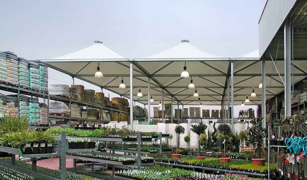 Brass beouin tents at garden centre