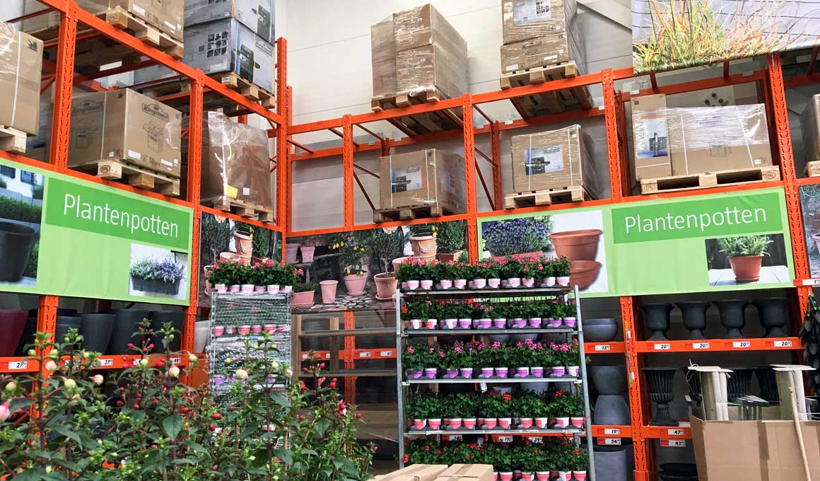 Garden center shelves
