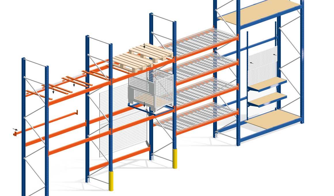 SL100 shelf system assembly