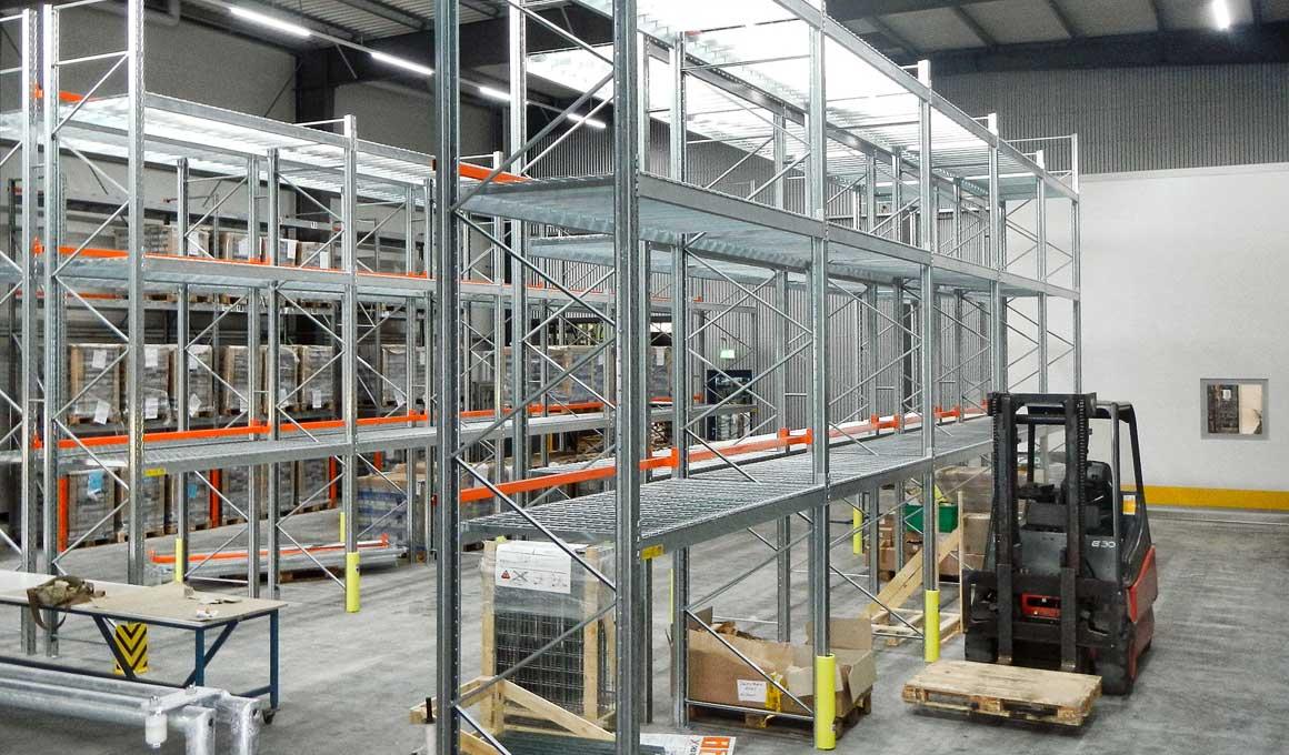 Heavy duty shelves at logistics center
