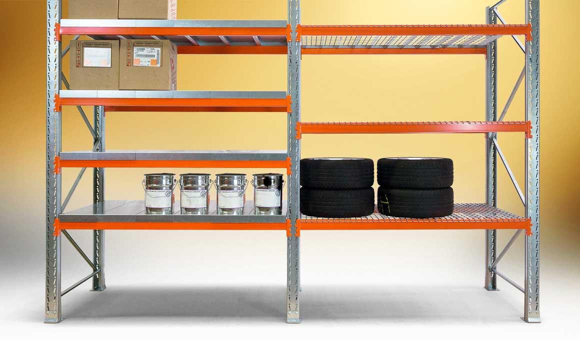 Heavy duty shelf with wire mesh shelves