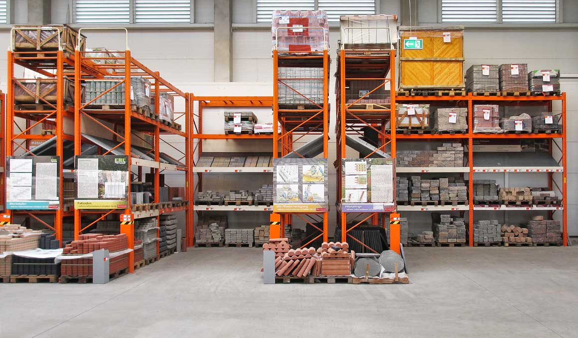 SL100 heavy duty shelf with building material