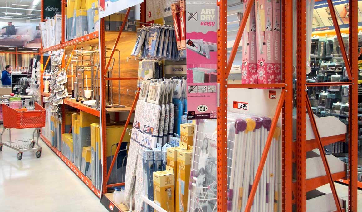 LPR shelf system at DIY superstore
