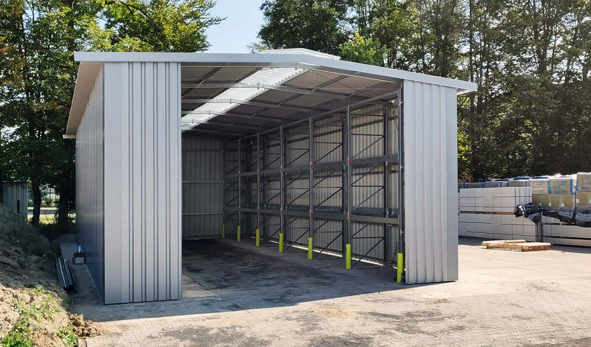 Brass shelved warehouse