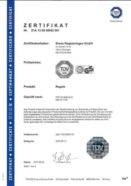 TÜV-Zertifikat LEO Lagerregal